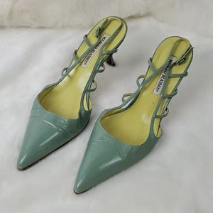 Manolo Blahnik green sling back shoes leather